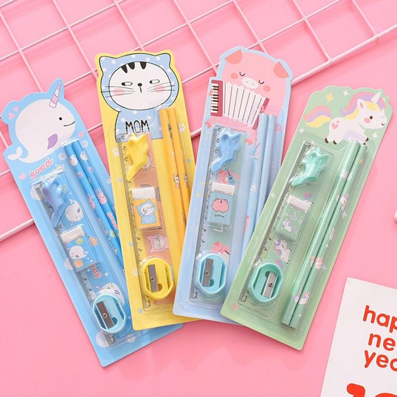 Cute Kawaii Pencils Set With Eraser Pencil Sharpener Pen Holder For Kids School 6 Pieces Stationery Set Gift