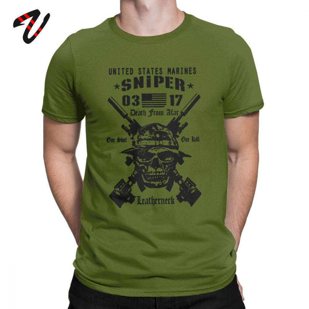 Adult Tops Men <font><b>T</b></font> <font><b>Shirt</b></font> <font><b>USMC</b></font> Scout Sniper Tee <font><b>Shirt</b></font> US Marines MOS 0317 Combat Arms Unique Short Sleeve Crew Neck Cotton <font><b>T</b></font>-<font><b>Shirts</b></font> image