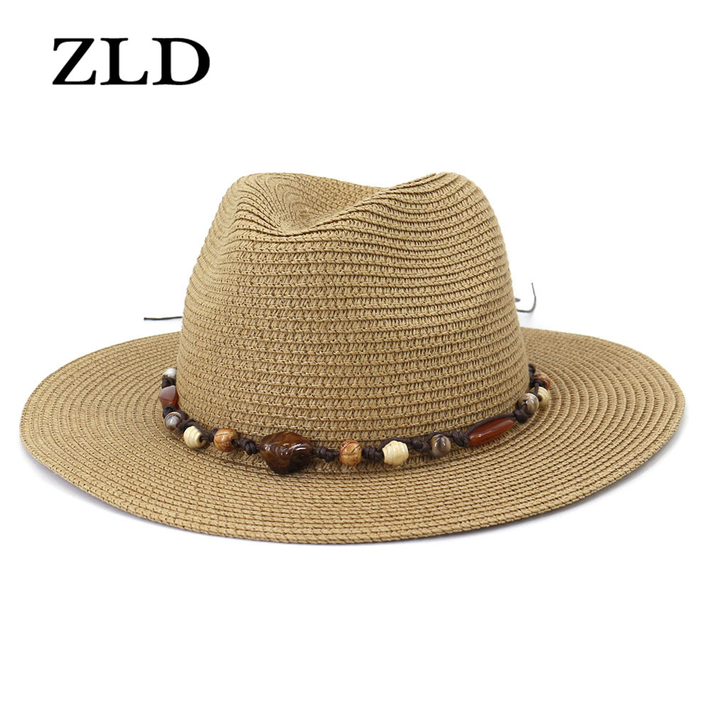 ZLD Unisex Straw Western Cowboy Hat For Women Cowgirl Summer Hats For Lady Sun Hat With Beaded Beach Cap Straw hat men