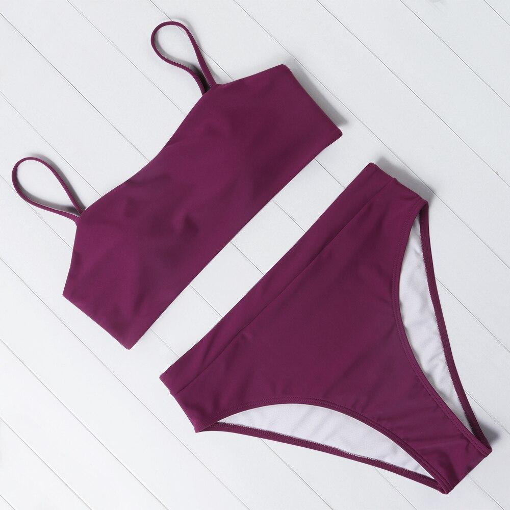 OMKAGI Women Swimsuit 2021 Solid Sexy Biquini Push Up Swimming Bathing Suit Bikini Set Maillot De Bain Femme Swimwear Women 4