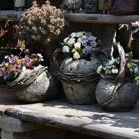 Courtyard Pastoral Cement Flower Pot Plant Jar Ornaments Art Garden Vase Figurines Decoration Outdoor Park Accessories Crafts