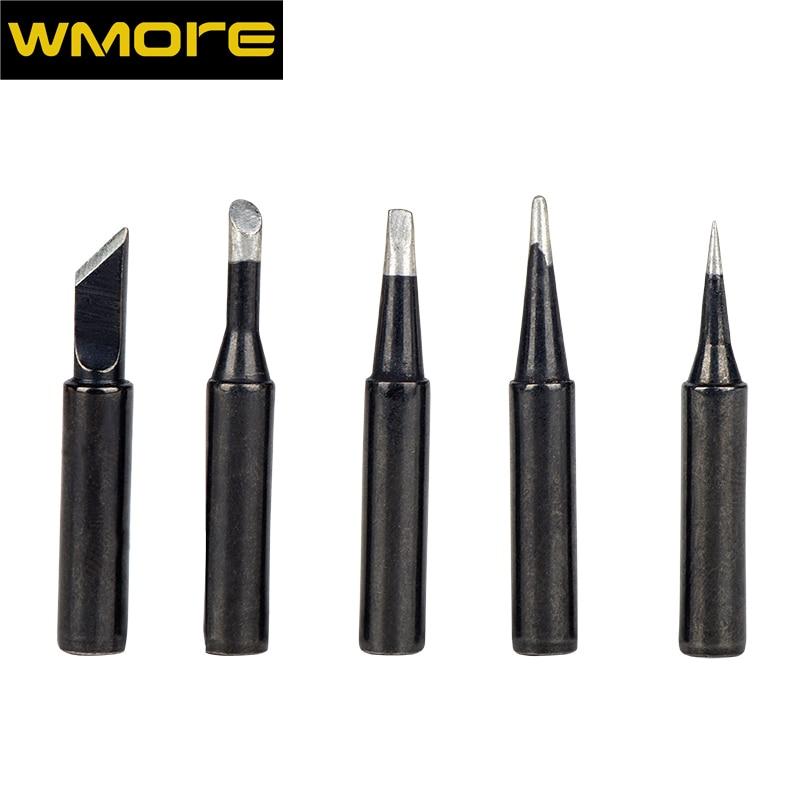 WMORE soldeerbout tips zwart 5 stks/set 900m-T loodvrij solderen tip pak voor 908S 908 top kwaliteit lassen tips soldeer hoofd