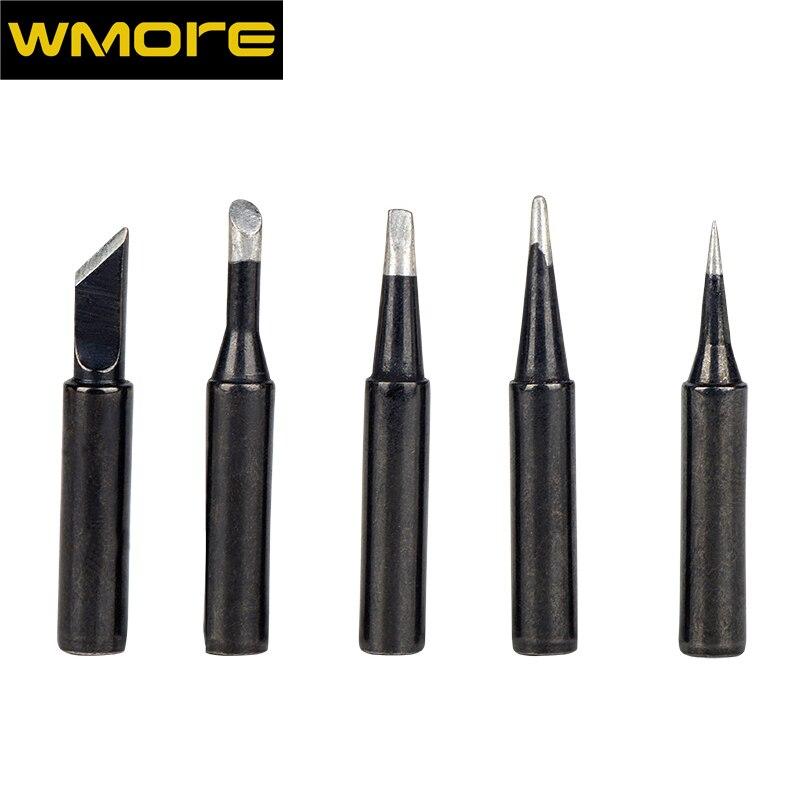 WMORE soldering iron เคล็ดลับสีดำ 5 ชิ้น/เซ็ต 900m-T ตะกั่ว-ฟรี soldering tip ชุดสำหรับ 908S 908 คุณภาพสูงเคล็ดลับการเชื่อม ...