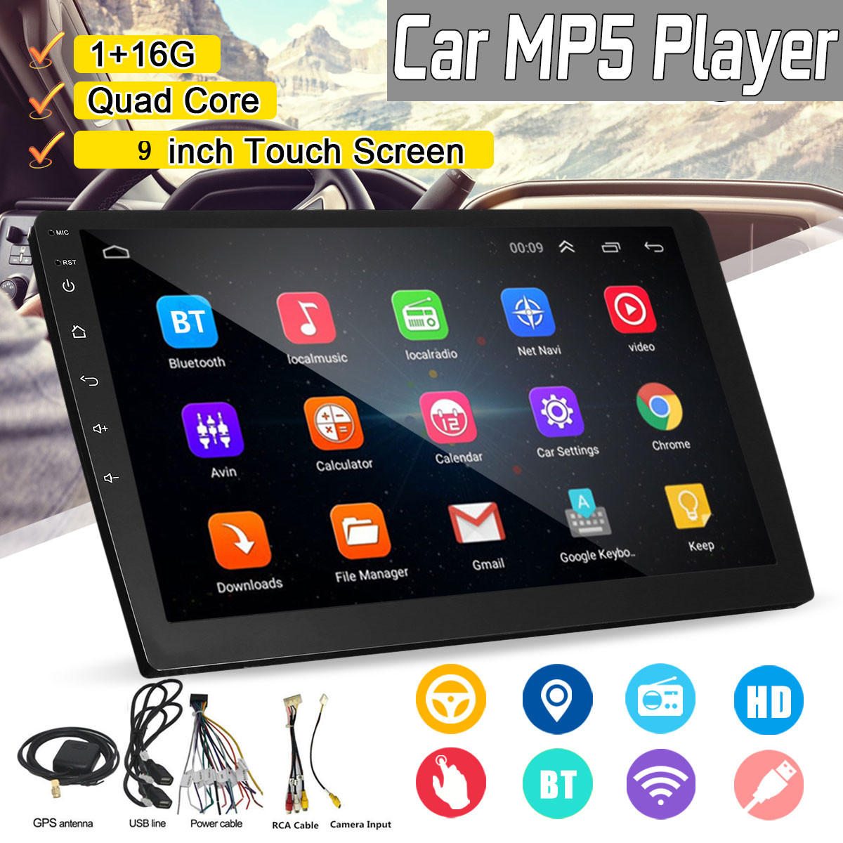 9 Inch 2 DIN 1+16G Car MP5 Player Quad Core Stereo Radio IPS Touch Screen Stereo Radio Car Radio Multimidia support DAB GPS DVR