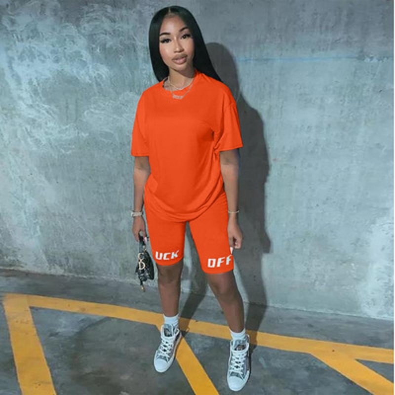 2020 New Summer Letter Print Casual Women's Two Piece Set Tracksuit  T-shirts Biker Shorts Jogger 2 Piece Shorts Set Outfits
