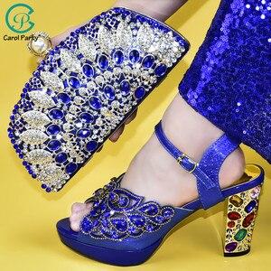 Image 5 - Senhoras sapatos e bolsas italianos para combinar conjunto decorado com apliques senhoras sapatos com saltos nigerianos sapatos de casamento feminino bombas