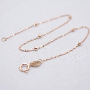 "Solid 18k Rose Gold Bracelet Fine Jewelry Luck Mini Beads & O Chain Link Bracelet 7"" 0.6g"