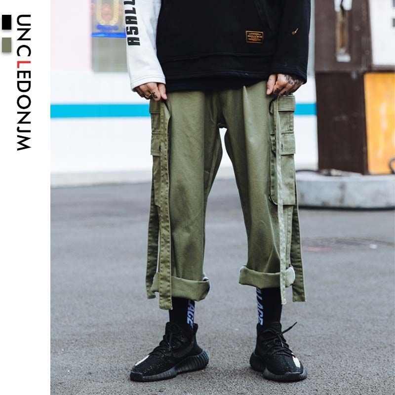 UNCLEDONJM Ribbons Multi Pocket Cargo Pants Loose Men's Tactical Pants Outdoor Sports Trousers Overalls Big Cargo Pants B29