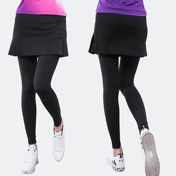 Wiosenna i jesienna obcisła sukienka sportowa damska dwuczęściowy zestaw anty-ekspozycja szybkoschnący obcisłe spodnie spódnica tenis Badminton Clothi tanie i dobre opinie Solid Color China NAIM 048 Trousers Skirt