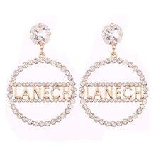 Brand Letter Pendientes Oorbellen Big Earrings for Women luxury earrings wedding Crystal jewelry wholesale