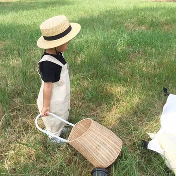 Children's photography props trolley pull car Nordic wind pull car straw pull car photo accesspries outdoor newborn  props