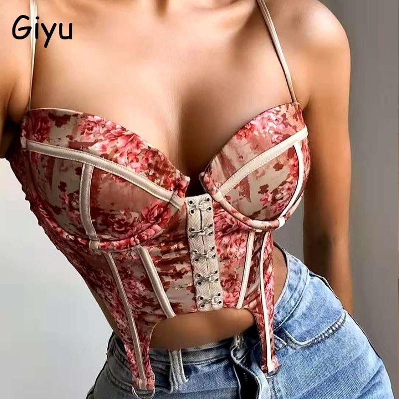 Giyu Vintage Floral Print Camisole Women Satin Crop Tops 2020 Summer Sexy Off Shoulder Backless Blusas Elegant Club Party Camis