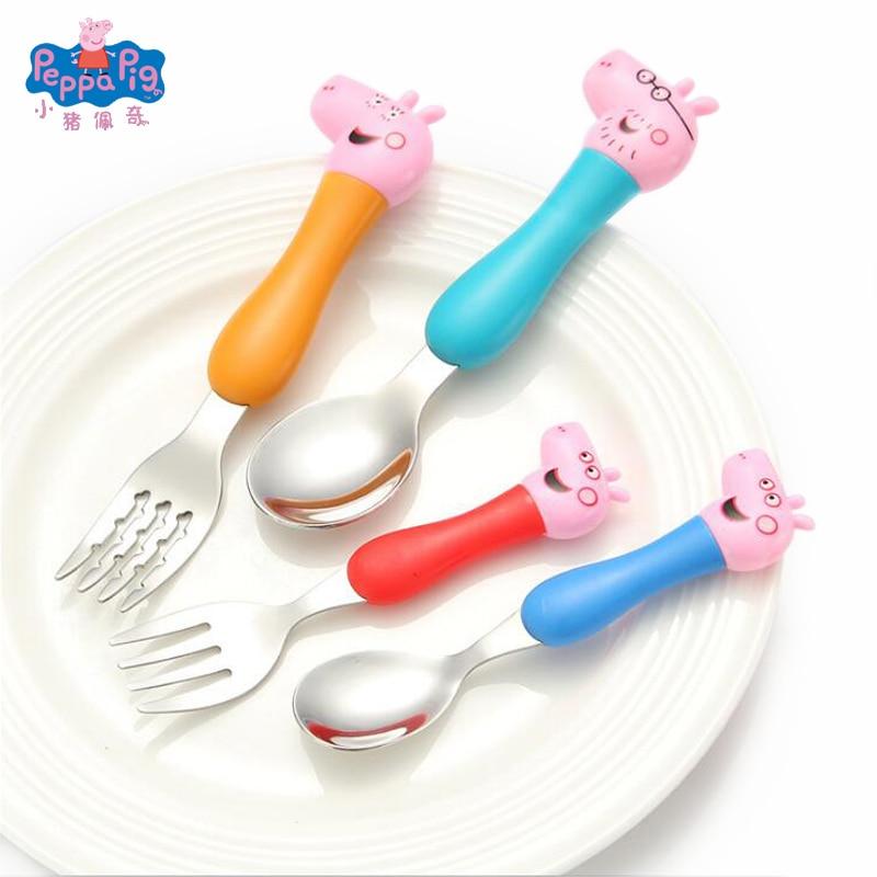 4pcs/set Peppa Pig Daily Dining Spoon Fork George Pig Family Tableware Cute Cartoon Model Grip Spoon Set Kids Birthday Gifts Toy