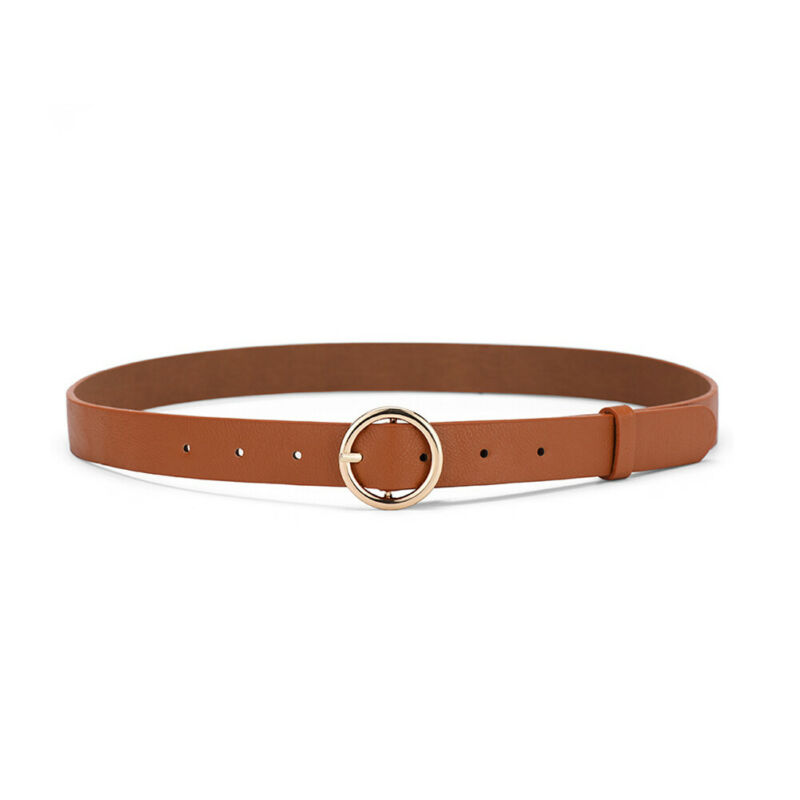 Fashion ladies   belt   PU leather classic simple casual retro round buckle pin buckle solid color leather pants waist   belt     belt