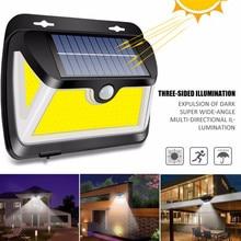 163 COB светодиодный светильник на солнечной батарее, в экстремальную погоду, PIR датчик движения, IP65, водонепроницаемый, широкий угол, уличный садовый светильник