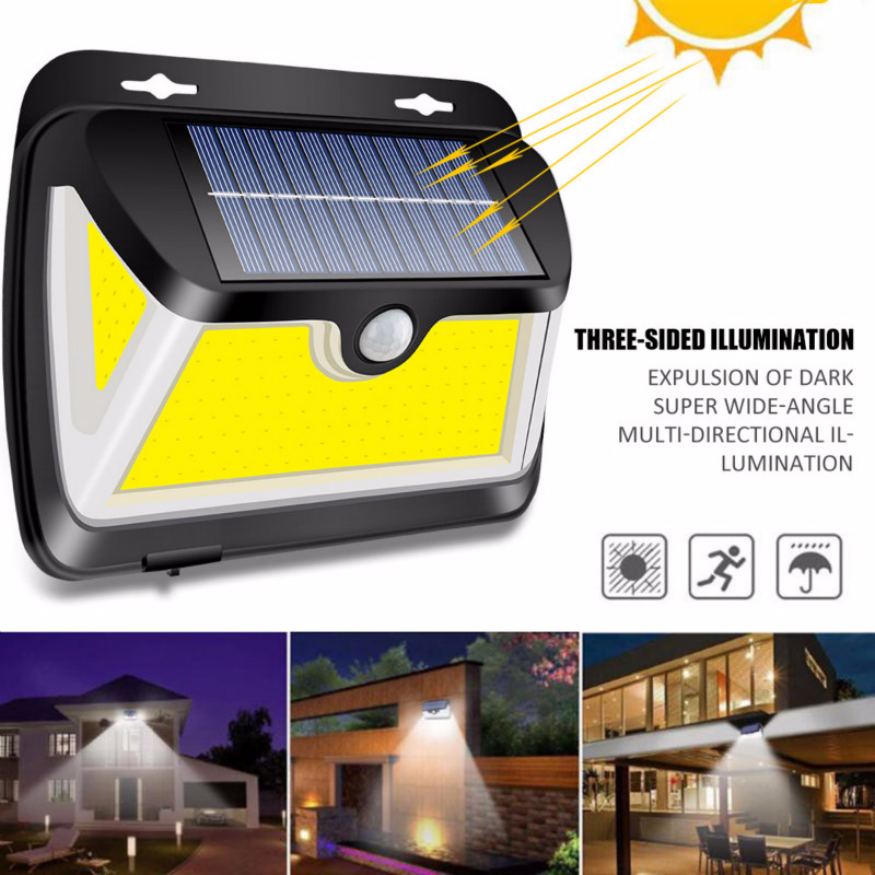 163 COB LED Solar Light PIR Motion Sensor Outdoor Solar Lamp IP65 Waterproof Wall Light Sunlight Powered Garden Street Light