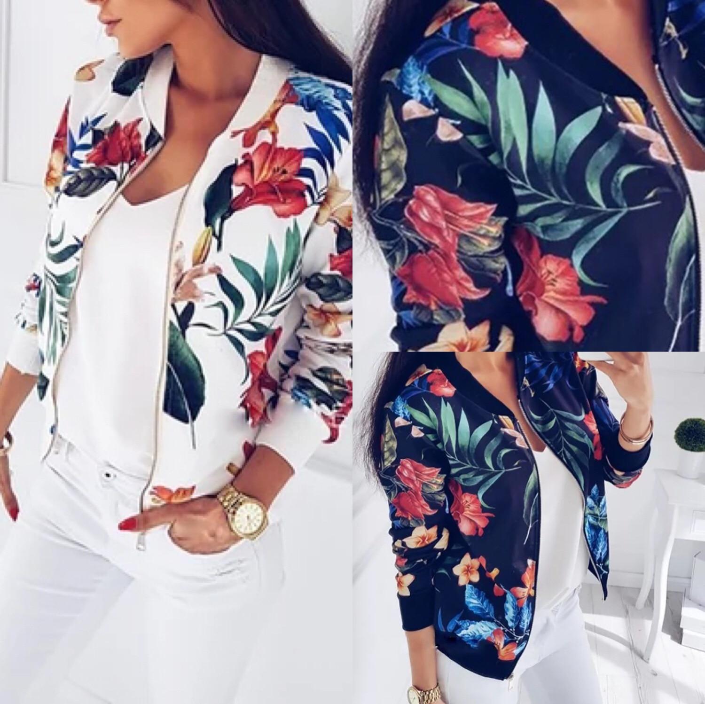 H75b4ddbb4fb148f1a56d6d883fd361c7Z Woman Coat Plus Size Printed Bomber Jacket 2020 Women Pockets Zipper Long Sleeve Coat Female Flower Chiffon White Jacket Woman