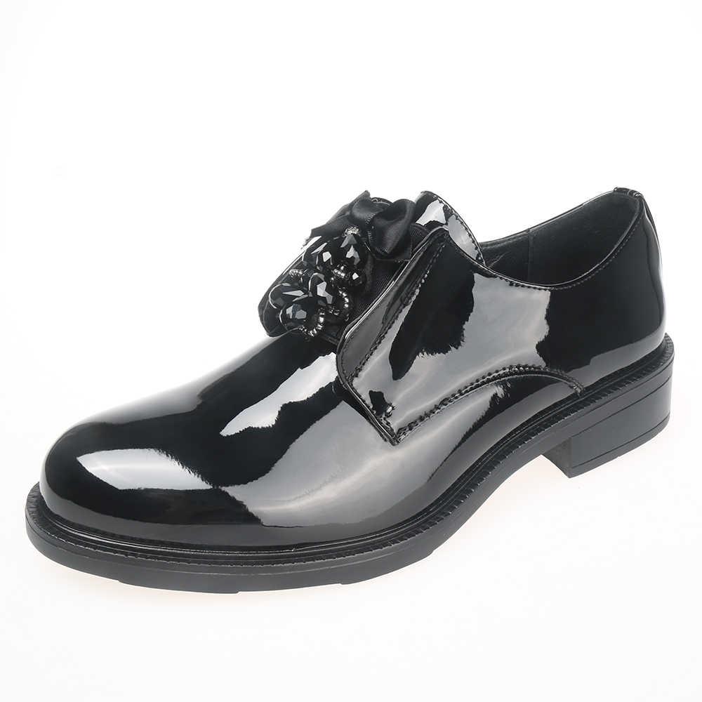 2019 ใหม่สไตล์ผู้หญิงผู้หญิง Oxford รองเท้า loafers Lady สิทธิบัตรหนังรองเท้าสบายๆรองเท้าสตรี