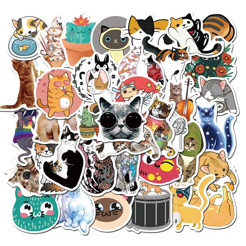Lote de 50 unidades de pegatinas de gato Kawaii para Scrapbooking, calcomanía de guitarra, Maleta, equipaje, pegatinas con dibujos animados