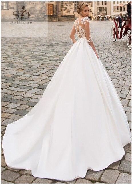 SoDigne 2019 July Wedding dress Long Sleeve Boho Bride Dresses For Women A Line Ivory Lace Appliques  Satin Wedding Gown 3