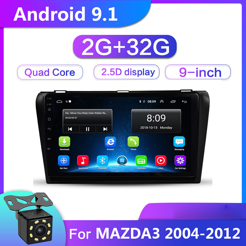 9 inch Android 9.1 Car Multimedia Video Player 2G+32G For <font><b>Mazda</b></font> <font><b>3</b></font> Mazda3 2004-2012 2din GPS Navigation <font><b>Radio</b></font> Stereo WIFI No DVD image