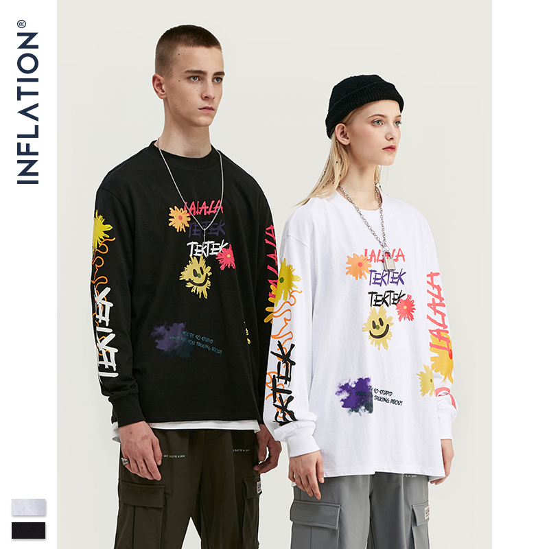 INFLATION Design Men Loose Fit Tee With Graphic Print Men Oversized T-shirt Long Sleeve Front & Back Print Men T-Shirt 91510W