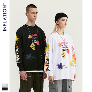 Image 1 - INFLATION Design Men Loose Fit Tee With Graphic Print Men Oversized T shirt Long Sleeve Front & Back Print Men T Shirt 91510W