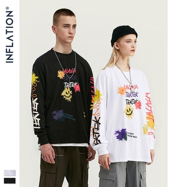 אינפלציה עיצוב גברים Loose Fit טי עם גרפי הדפסת גברים רחב מימדים חולצה ארוך שרוול מול & אחורי הדפסת גברים חולצה 91510W
