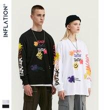 Şişirme tasarım erkekler gevşek Fit Tee ile grafik baskı erkekler boy T shirt uzun kollu ön ve arka baskı erkekler T Shirt 91510W
