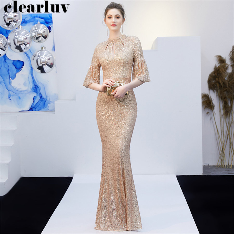 Long   Evening     Dresses   Plus Size Robe De Soiree DX266-2 Champagne Gold O-Neck Women Party   Dress   2019 Sequins Elegant Mermaid   Dress