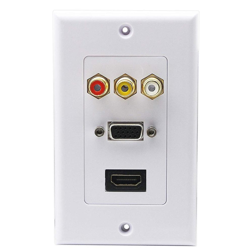 Practical Double Connection Port White Hdmi Vga Rca Lead Wall Plate Full Hd 1080 Tv Cable Faceplate Socket Connector