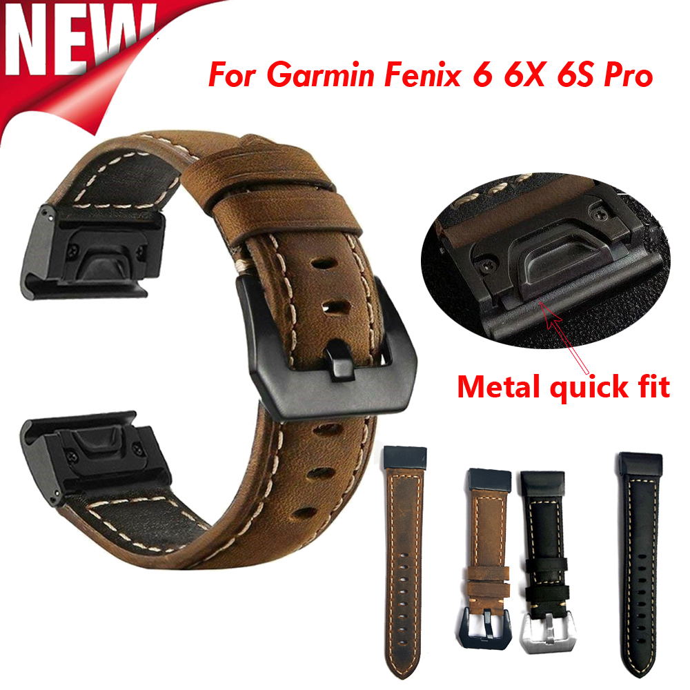 New Fenix 6 Wristband 20 22 26mm Quick Fit Genuine Leather Watch Band Strap For Garmin Fenix 6 6S 6X Pro/5X Plus/Forerunner 935