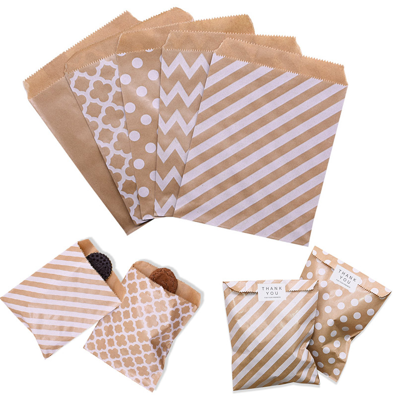 20-25Pcs 18*13cm Kraft Paper Bag Wave Stripe Dot Gift Bag For Wedding Birthday Candy Snack Bag Christmas Party Wrapping Supplies