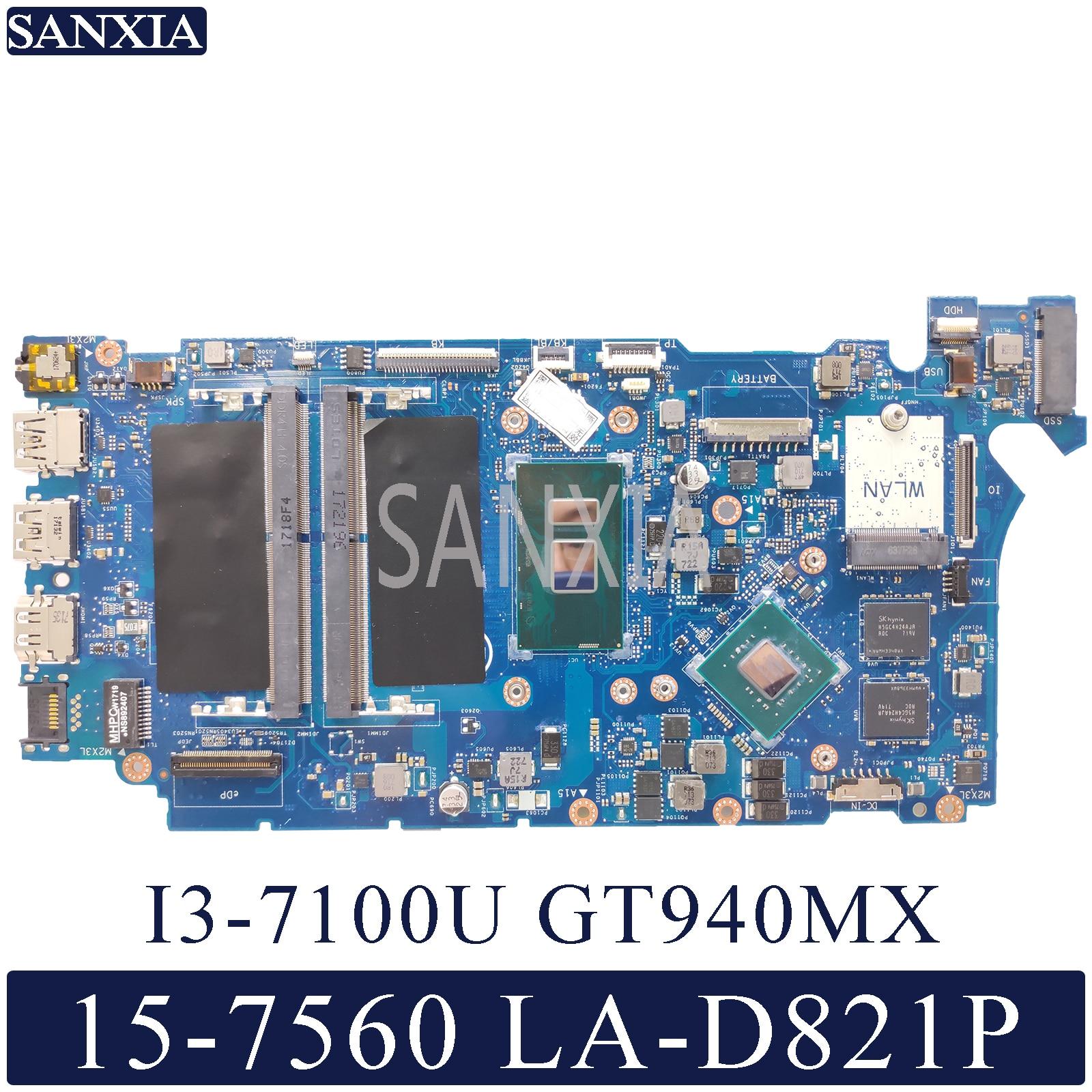 KEFU LA-D821P Laptop Motherboard For Dell Inspiron 15-7560 14-7460 Original Mainboard I3-7100U GT940M