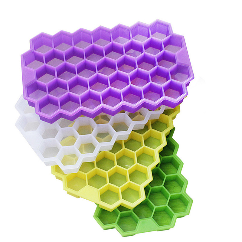 37 Cubes Home Honeycomb Shape Silicone Ice Cube Tray Mold Storage ContainerHEP