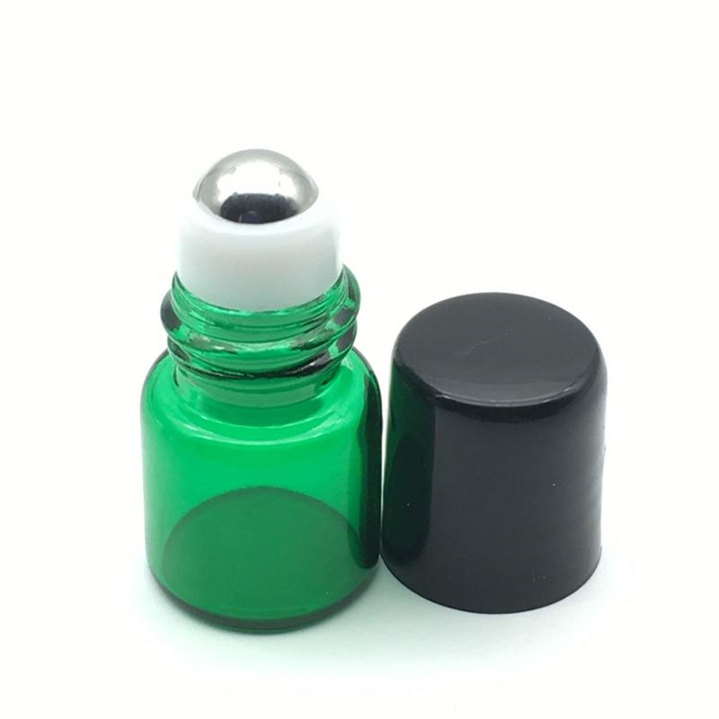 3pcs Essential Oil 1ml Green Roller Bottle Roll On Bottles For Refillable Perfume Sample Bottle Free Shipping