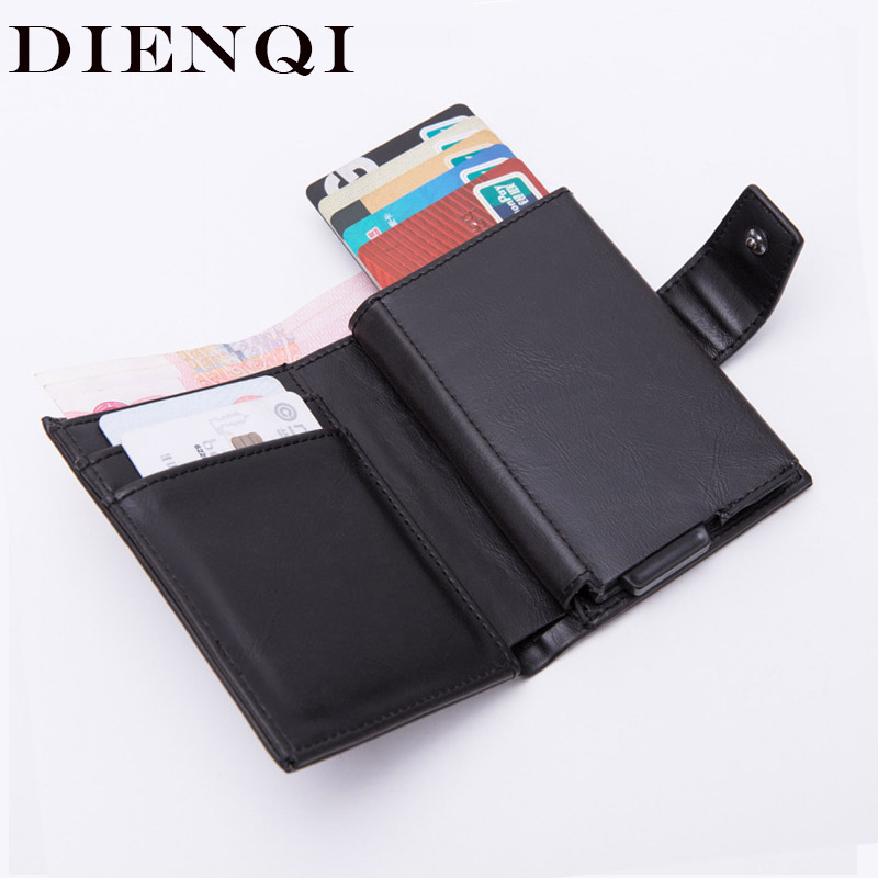 DIENQI Rfid Men Wallets Classic Card Holder Walet Male Purse Money Wallet Zipper Big Brand Luxury Black Leather Wallet For Men