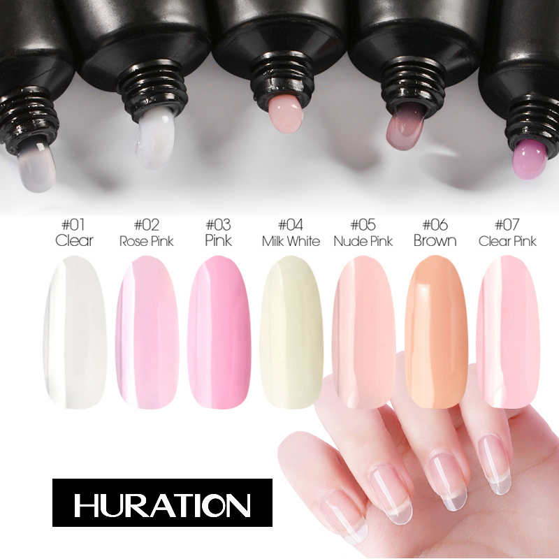 Huration Pink Color Transparent Nails Gel Nail Poly Gel Nail Gel Polish Extension Polygel Varnish Gel Off White For Nail Fast