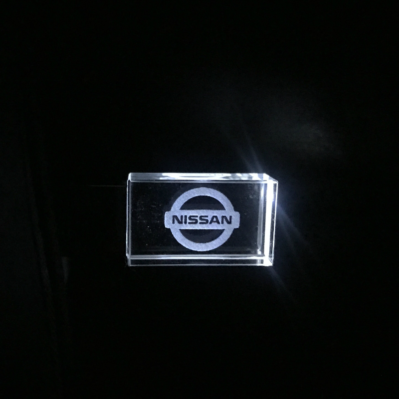 Nissan Crystal + Metal USB Flash Drive Pendrive 4GB 8GB 16GB 32GB 64GB 128GB External Storage Memory Drive Ustom DIY 3D Logo