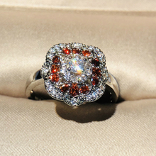 2019 New Silver Rings with Red Zircon Stone for Women Wedding Engagement Fashion Jewelry
