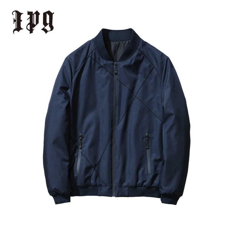 Ipg 2020 мужская зимняя куртка, плотная теплая повседневная одежда, мужские классические бейсбольные куртки на молнии с карманом, одноцветные мужские ветрозащитные пальто, простые