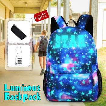1PCS Luminous Star School Bag Laptop Backpack with Anti-theft Lock USB Charging Port Boy Girl Daypack for Travel Camping 1