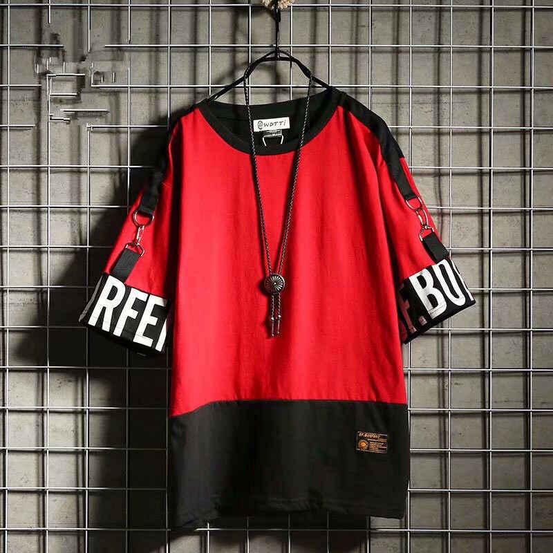 ヒップホップ男性tシャツ夏ゆるいファッションカジュアルストリート半袖メンズtシャツの潮原宿