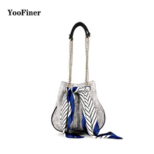2019new arrival fashion woman chain scarf bag wild woven female shoulder Crossbody Bag for Women YooFiner Luxury shoulerbags