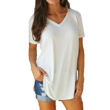 Women's T-shirt Summer Plus Size Tee Basic T Shirt Women Solid V Neck Short Sleeve Long Casual Women Tops Loose Tee Shirt Femme недорого