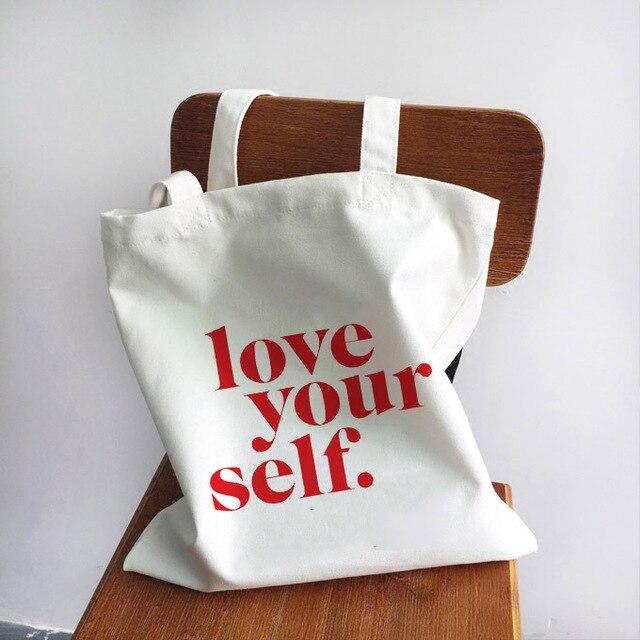 Ladies Handbags Girl Power Quotes Canvas Tote Bag Shopping Travel Women Eco Reusable Shoulder Shopper Bags High Capacity 1