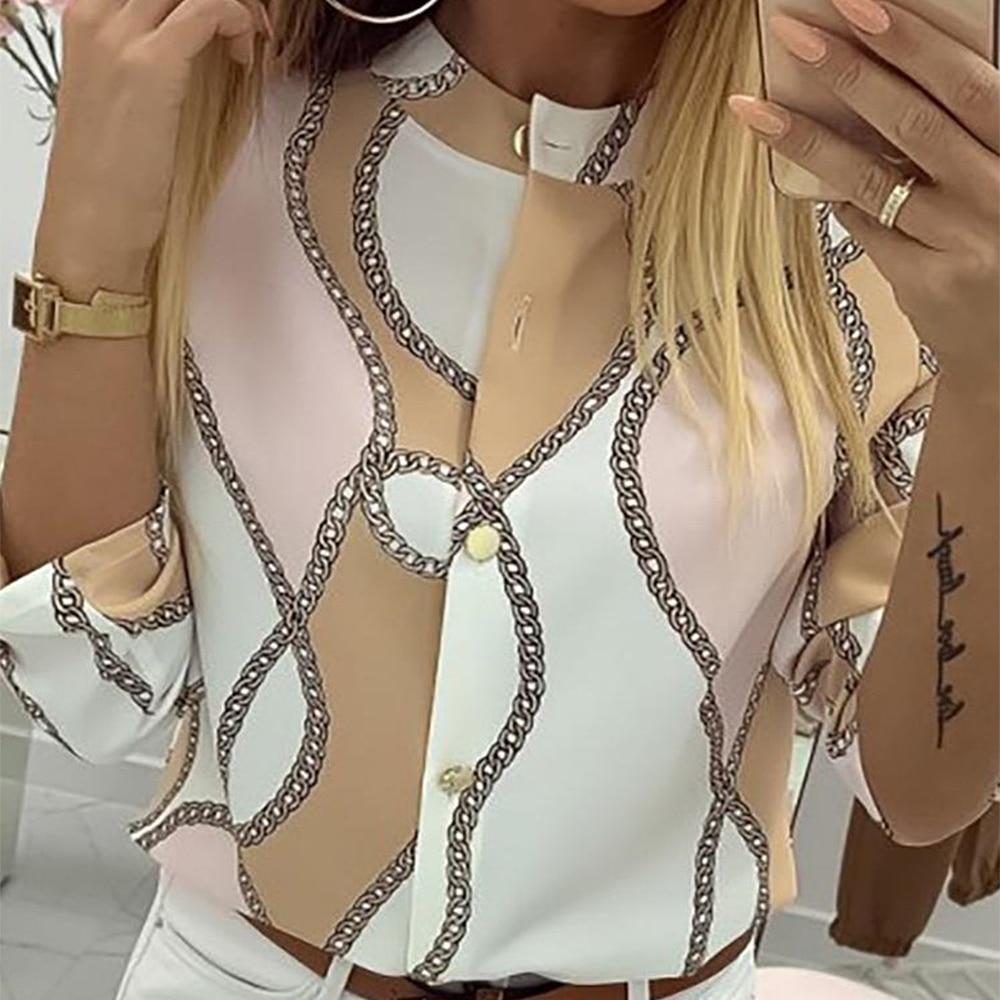 OEAK Women Chiffon Blouse Shirt Female Clothing Long Sleeve Blusas Chiffon Women Office Blouses Print Striped Lady  Top