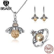 BISAER 925 Sterling Silver Cute Orange Bee Animal Pendants Necklaces & Stud Earrings & Ring Fashion Zircon Dubai Jewelry Sets