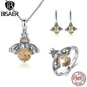 Image 1 - BISAER 925 argent Sterling mignon Orange abeille animaux pendentifs colliers et boucles doreilles et bague mode Zircon Dubai bijoux ensembles