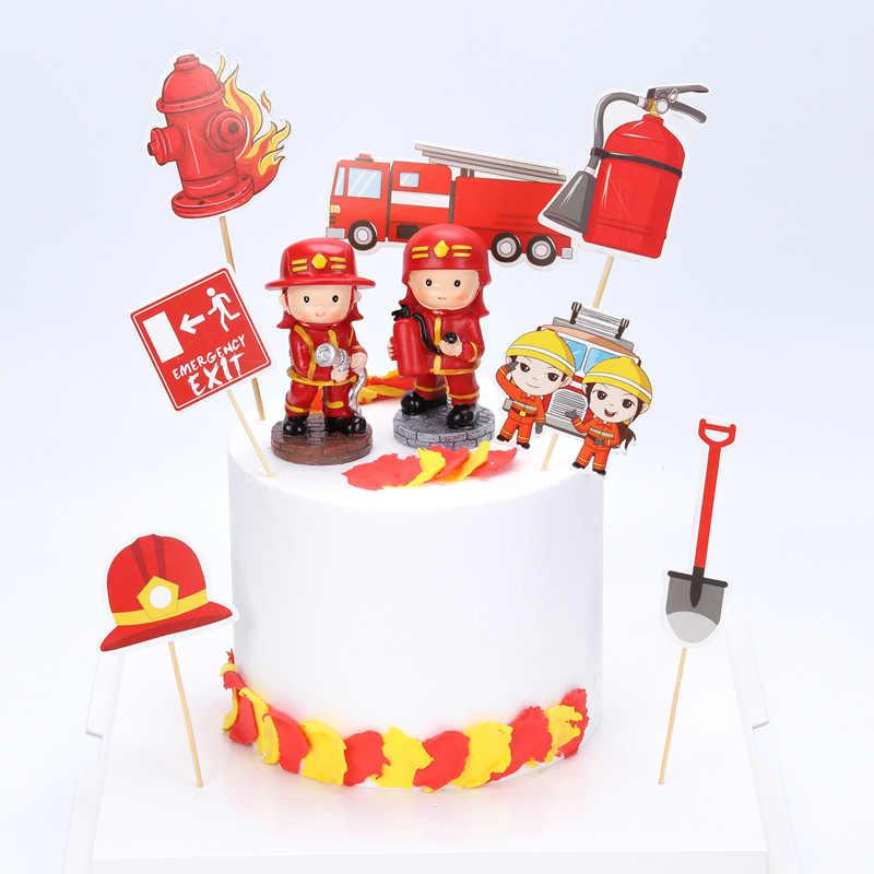 Phenomenal 7Pcs Fire Hero Baby Shower Kids Birthday Cake Decorating Cake Funny Birthday Cards Online Overcheapnameinfo